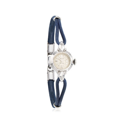 C. 1940 Vintage Gruen Woman's Leather Strap Watch in 14kt White Gold, , default