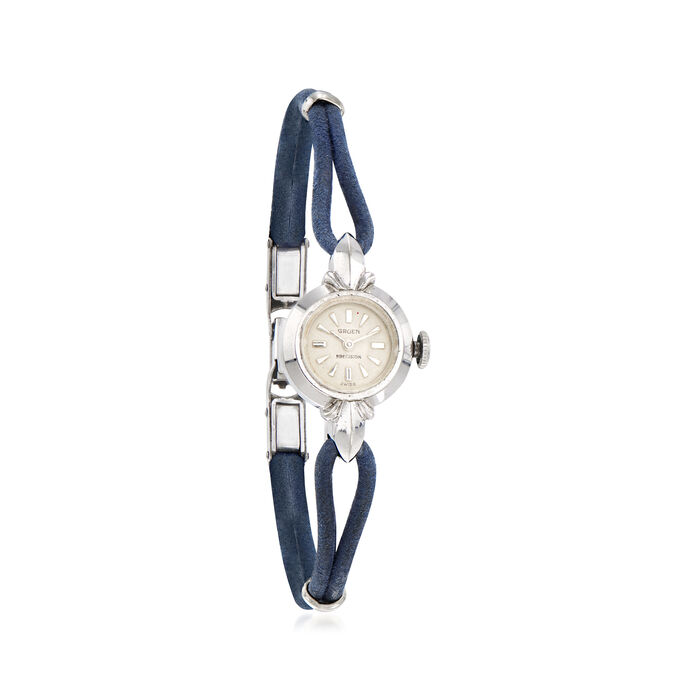 C. 1940 Vintage Gruen Woman's Leather Strap Watch in 14kt White Gold. Size 7