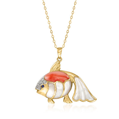 C. 1980 Vintage Mother-Of-Pearl and Red Coral Fish Pendant Necklace in 14kt Yellow Gold