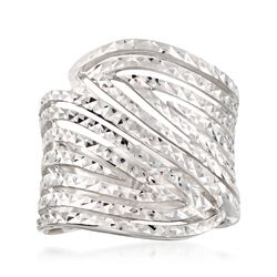 Sterling Silver Diamond-Cut Cutout Bypass Ring, , default