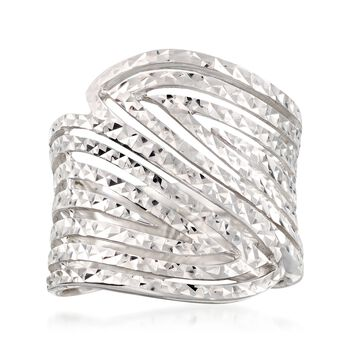 Sterling Silver Diamond-Cut Cutout Bypass Ring, , default