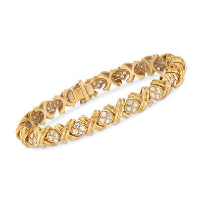 "C. 1980 Vintage Tiffany Jewelry 2.50 ct. t.w. Diamond ""X"" Bracelet in 18kt Yellow Gold, , default"