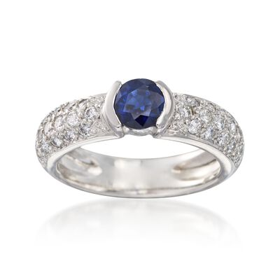 C. 1990 Vintage .60 Carat Sapphire and .60 ct. t.w. Diamond Ring in Platinum, , default