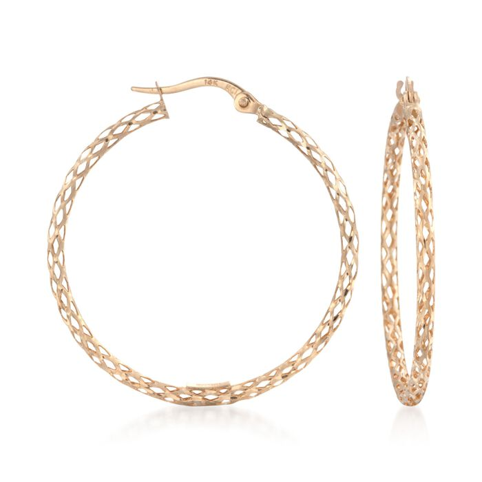 "14kt Yellow Gold Mesh-Style Hoop Earrings. 1 1/4"", , default"