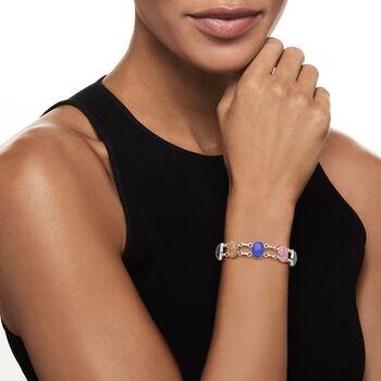 Multi-Stone Scarab Bracelet in Sterling Silver, , default