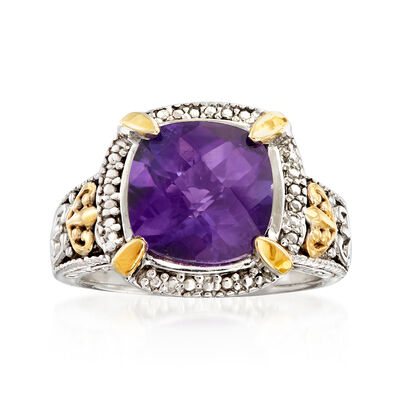 3.70 Carat Amethyst Ring in Sterling Silver with 14kt Yellow Gold, , default