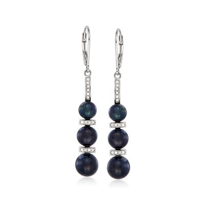 6-8.5mm Black Cultured Pearl and .20 ct. t.w. Diamond Drop Earrings in Sterling Silver