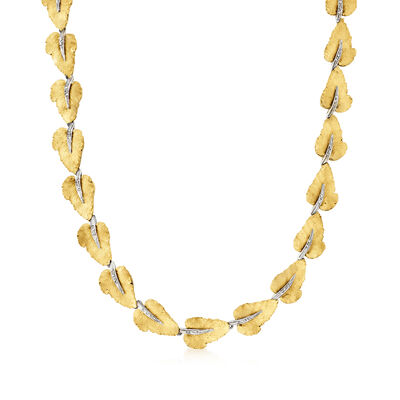 C. 1980 Vintage 2.00 ct. t.w. Diamond Leaf Necklace in 18kt Two-Tone Gold