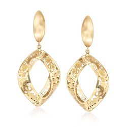 Italian 14kt Yellow Gold Open-Space Drop Earrings, , default