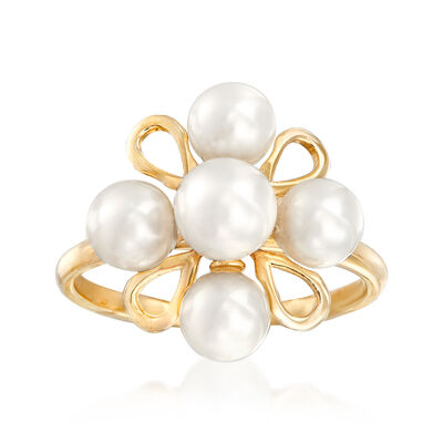 5-6mm Cultured Pearl Floral Ring in 14kt Yellow Gold, , default