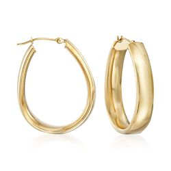 "14kt Yellow Gold Oval Hoop Earrings. <span class='nowrap'>1 1/4""</span>, , default"