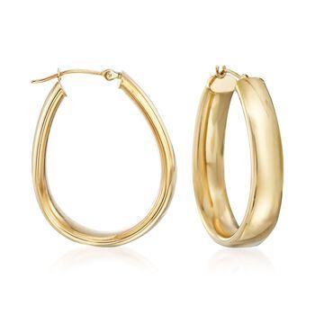"""14kt Yellow Gold Oval Hoop Earrings. <span class='nowrap'>1 1/4""""</span>, , default"""