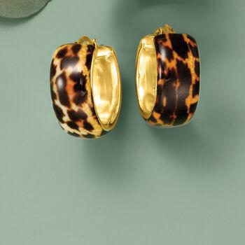 """Italian Leopard-Print Enamel Hoop Earrings in 18kt Gold Over Sterling. 7/8"""""""