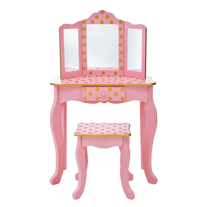 Child's Pink and Gold Polka Dot Gisele Vanity Table and Stool Set with Mirror