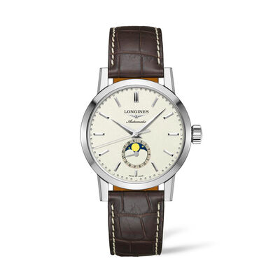 Longines 1832 Men's 42mm Automatic Moon Phase Stainless Steel Watch with Brown Alligator Strap