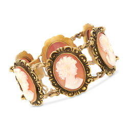 C. 1970 Vintage Pink Shell Multi-Cameo Bracelet in 14kt Yellow Gold, , default