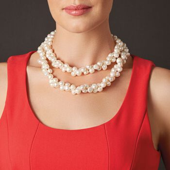 """8-9mm Cultured Semi-Baroque Pearl Endless Necklace. 80"""", , default"""