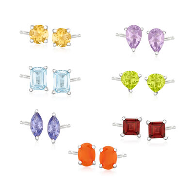 9.80 T. t.w. Multi-Gemstone Jewelry Set: Seven Pairs of Stud Earrings in Sterling Silver