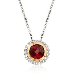 "Phillip Gavriel ""Popcorn"" .50 Carat Garnet Pendant Necklace in Sterling Silver and 18kt Gold. 18"", , default"