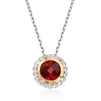 """Phillip Gavriel """"Popcorn"""" .50 Carat Garnet Pendant Necklace in Sterling Silver and 18kt Gold. 18"""", , default"""