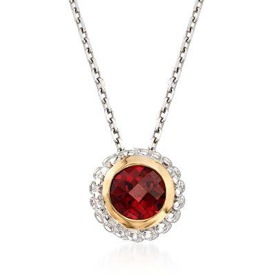 """Phillip Gavriel """"Popcorn"""" .50 Carat Garnet Pendant Necklace in Sterling Silver and 18kt Gold, , default"""