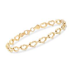 14kt Yellow Gold Heart-Link Bracelet, , default