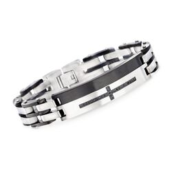 "Men's .40 ct. t.w. Black CZ Cross Bracelet in Black Stainless Steel. 8.5"", , default"