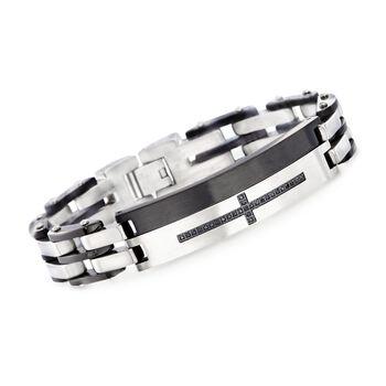 """Men's .40 ct. t.w. Black CZ Cross Bracelet in Black Stainless Steel. 8.5"""", , default"""