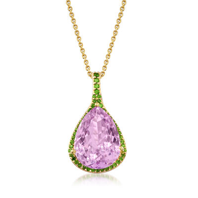 16.00 Carat Kunzite and .55 ct. t.w. Green Chrome Diopside Pendant Necklace in 18kt Gold Over Sterling, , default