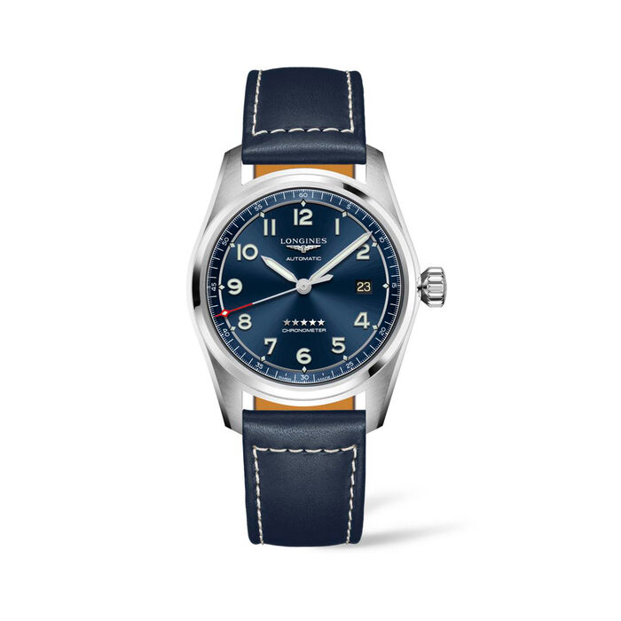 Longines Spirit Men's 40mm Automatic Stainless Steel Watch with Blue Leather