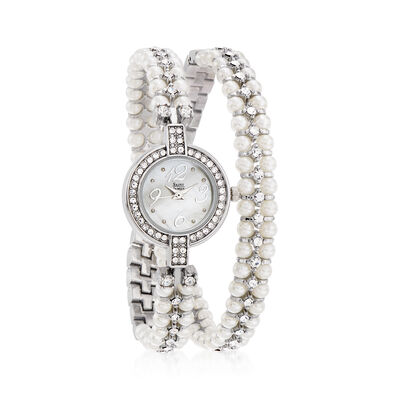 Saint James Women's Mother-Of-Pearl and Crystal Double-Wrap 22mm Watch in Silvertone, , default