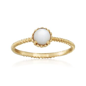 Italian Mother-Of-Pearl Roped Solitaire Ring in 14kt Yellow Gold, , default