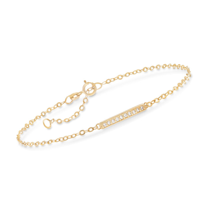 Italian 14kt Yellow Gold Bar Station Bracelet with CZ Accents. 7""