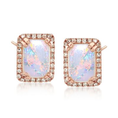 Opal and .15 ct. t.w. Diamond Frame Stud Earrings in 14kt Rose Gold
