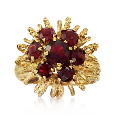 C. 1970 Vintage 2.60 ct. t.w. Garnet Cluster Ring in 10kt Yellow Gold