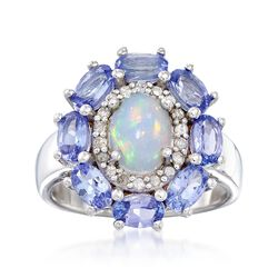 Opal and 2.00 ct. t.w. Tanzanite Ring Ring With .21 ct. t.w. Diamonds in Sterling Silver , , default
