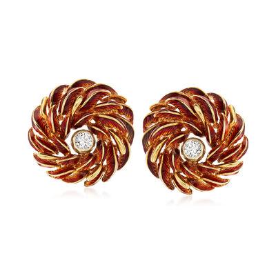 C. 1970 Vintage .40 ct. t.w. Diamond and Enamel Flower Earrings in 18kt Yellow Gold