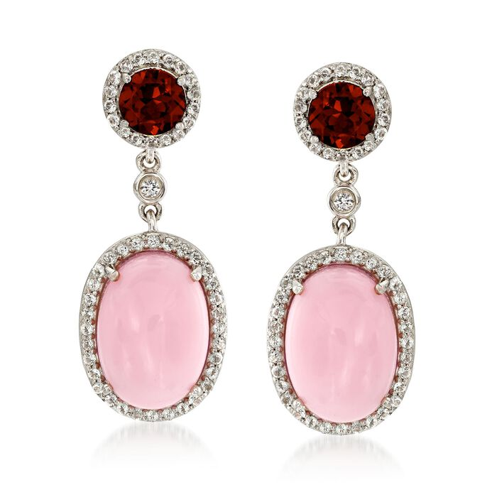Pink Opal and 1.80 ct. t.w. Garnet Drop Earrings with White Topaz in Sterling Silver, , default