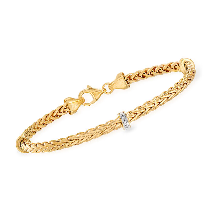 """Phillip Gavriel """"Woven"""" Station Bracelet with Diamond Accents in 14kt Yellow Gold. 7.25"""", , default"""