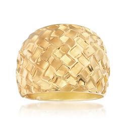 Italian Andiamo Geometric Textured Dome Ring, , default
