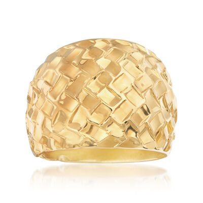 Italian Andiamo Geometric Textured Dome Ring, , default