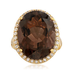 16.00 Carat Smoky Quartz and .50 ct. t.w. White Topaz Ring in 18kt Gold Over Sterling, , default