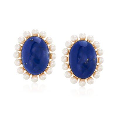 C. 1980 Vintage Lapis and 3.4mm Cultured Pearl Clip-On Earrings in 18kt Yellow Gold  , , default