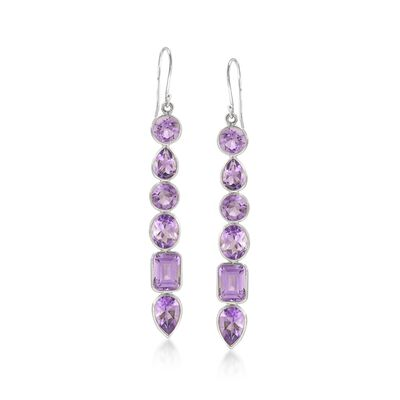 13.80 ct. t.w. Amethyst Drop Earrings in Sterling Silver, , default