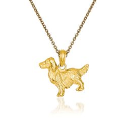 "14kt Yellow Gold Spring Spaniel Dog Pendant Necklace. 18"", , default"