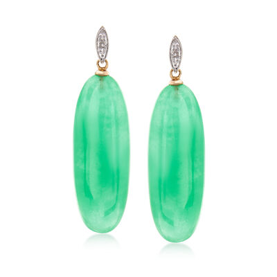 30x11m Green Jade Drop Earrings in 14kt Yellow Gold, , default