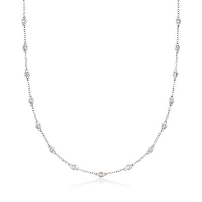 1.00 ct. t.w. Diamond Bezel-Set Station Necklace in 18kt White Gold, , default