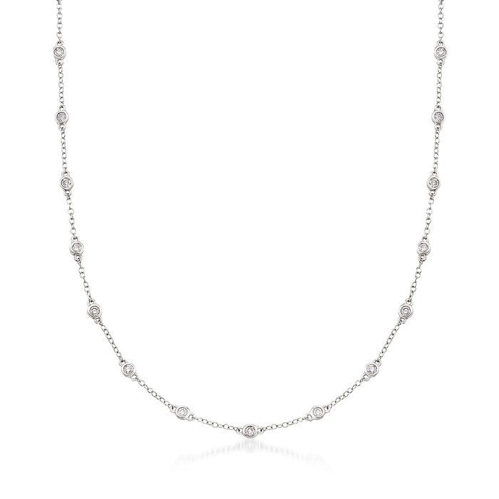 1.00 ct. t.w. Diamond Bezel-Set Station Necklace in 18kt White Gold, , default