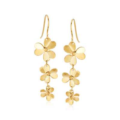 Italian 14kt Yellow Gold Floral Drop Earrings, , default
