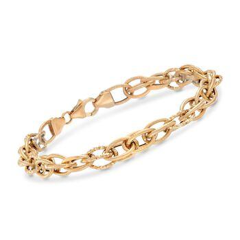 Italian 18kt Yellow Gold Interlocking Multi-Oval Link Bracelet , , default